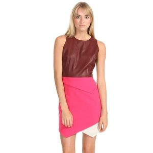 Sugarlips Faux Leather Colorblock Mini Dress